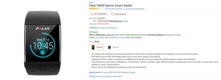 [Deal Alert] Amazon has the Polar M600 Android Wear smartwatch for $250 ($80 off)