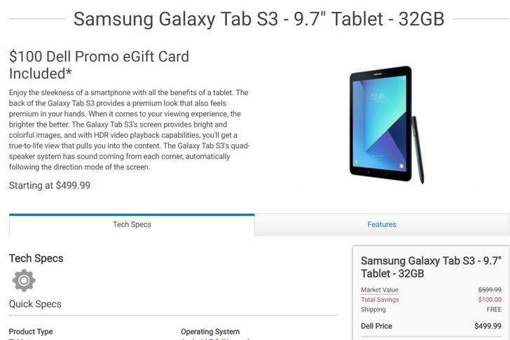 [Deal Alert] Dell brings you the Galaxy Tab S3 for $499 w/$100 Dell gift card and the DJI Mavic Pro for $999 with a $200 Dell gift card