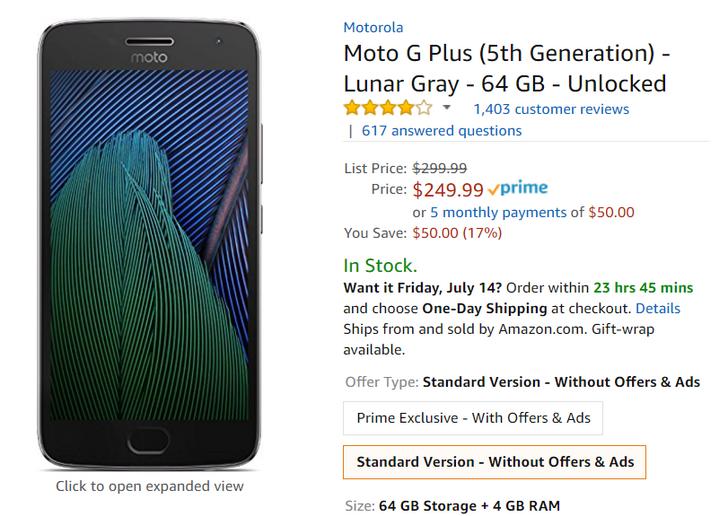 [Deal Alert] Ad-free Moto G5 Plus 64GB just $249.99 at Amazon ($50 off)