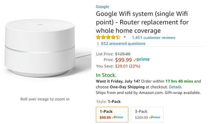 [Deal Alert] Single Google Wifis for just $99.99 at Amazon ($30 off)