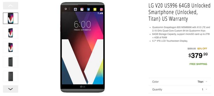 [Deal Alert] Get $70+ off unlocked LG phones: G6 for $499.95, V20 for $379.99, and G5 for $249.99