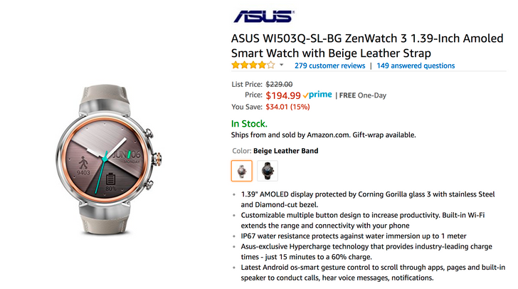 [Deal Alert] Get an ASUS ZenWatch 3 for as low as $194.99 ($34 off) on Amazon