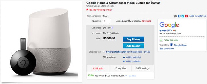 [Deal Alert] Get a Google Home and Chromecast bundle for $99.99 ($65 off), or a Chromecast alone for $25 ($10 off)