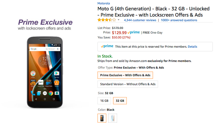 [Deal Alert] Get a Prime Exclusive Moto G4 with 32GB for $129.99 ($50 off), 16GB for $119.99 ($30 off)