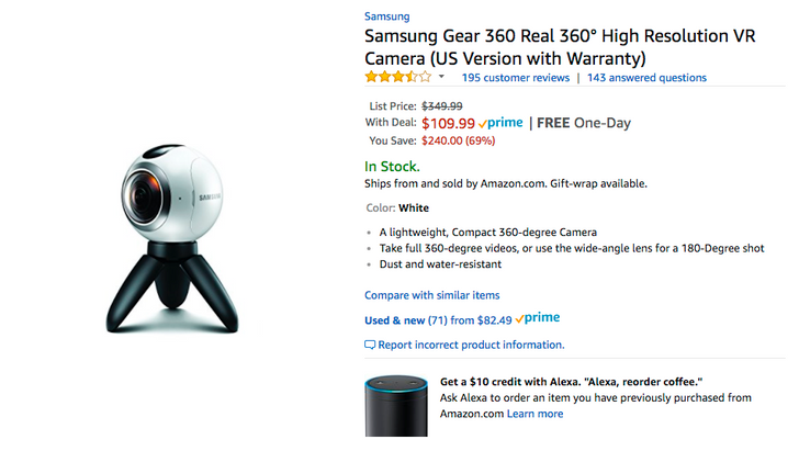 [Deal Alert] Get a first-gen Samsung Gear 360 for $109.99, the lowest price we've seen, on Amazon