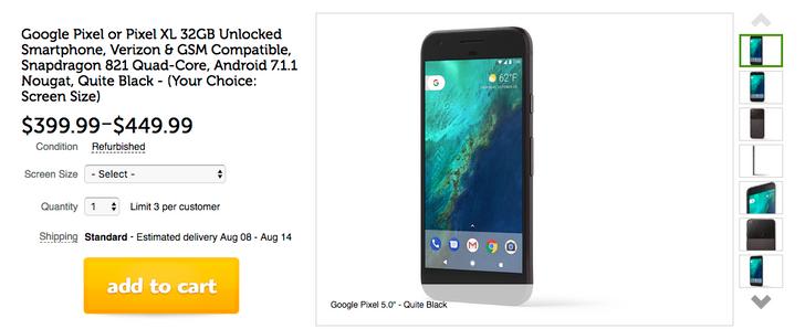 [Deal Alert] Get a Verizon/unlocked Pixel refurb for $399.99, Pixel XL for $499.99