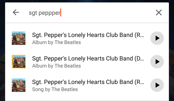 Google Play Music is testing a new search UI, with album art and play button for top results