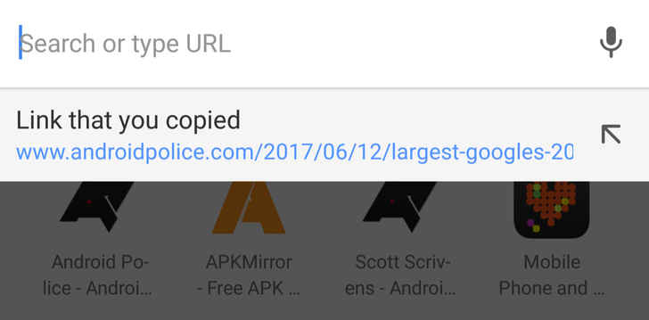 PSA: Chrome for Android automatically suggests copied links when you search