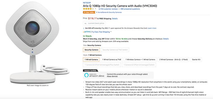 [Deal Alert] Amazon has the Netgear Arlo Q security camera for $116.11 ($103.88 off)