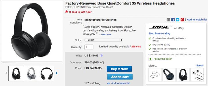 [Deal Alert] Grab a pair of factory-renewed Bose QuietComfort 35 for $260 ($90 off retail)