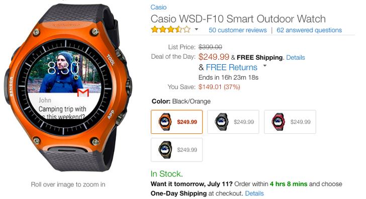 [Deal Alert] Casio WSD-F10 Android Wear watch down to $250 on Amazon ($149 off)