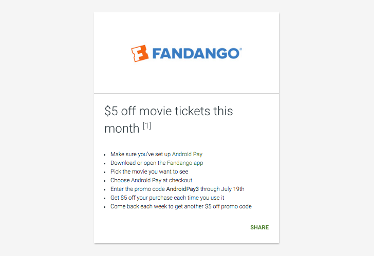 [Update: Valid for another week with new code] Deal Alert: Get $5 off all your Fandango purchases this month with Android Pay