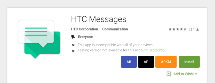 HTC uploads its SMS app to the Play Store