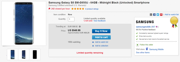[Deal Alert] US unlocked Galaxy S8 (G950U) and S8+ (G955U) on sale for $549.99 and $639.99 on eBay