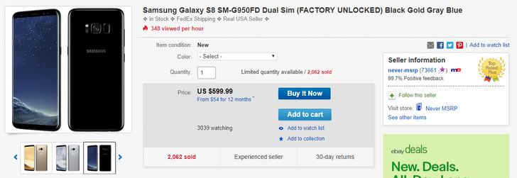 [Deal Alert] Dual SIM Galaxy S8 (G950FD) and S8+ (G955FD) on sale for $599.99 and $689.99 on eBay