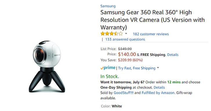 [Deal Alert] First-gen Samsung Gear 360 is down to $140 on Amazon