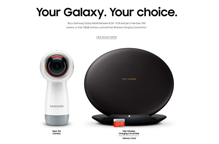 You'll get a free Gear 360 or 128GB microSD card and wireless charging pad with your Note8 - if you order in time