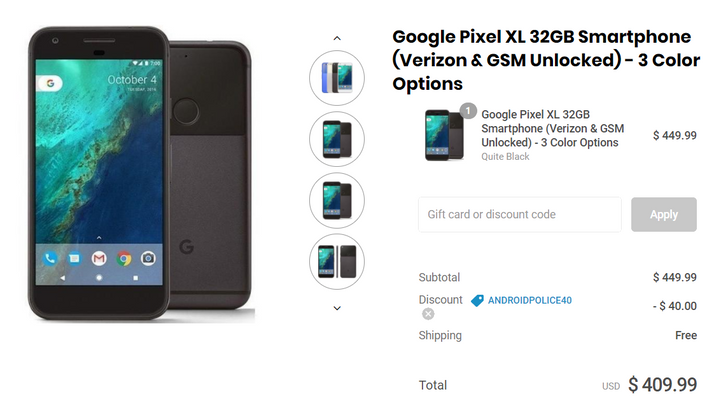 [Deal Alert] Refurbished 32GB Google Pixel XL for $409.99 at Daily Steals with our exclusive $40 off coupon
