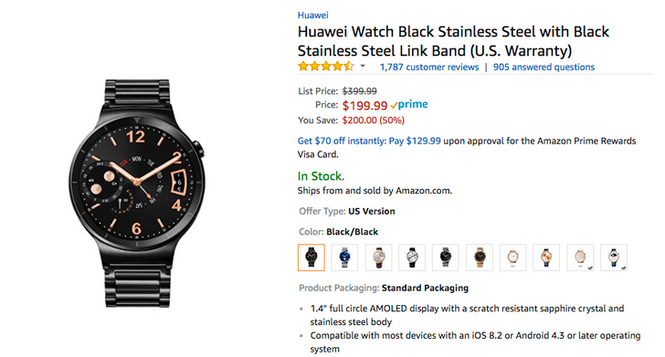 [Deal Alert] Get a black Huawei Watch with stainless steel band for just $199.99 ($200 off) at Amazon and B&H