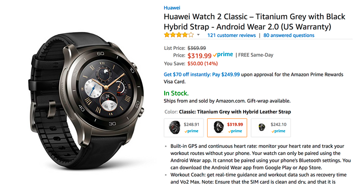 [Deal Alert] Huawei Watch 2 Classic $320 ($50 off), Sport just $240 ($60 off) on Amazon