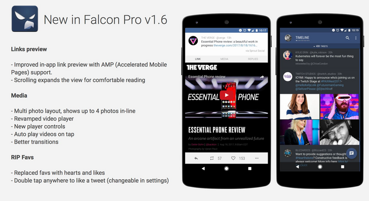 Falcon Pro updated to v1 6, with AMP link previews, new media