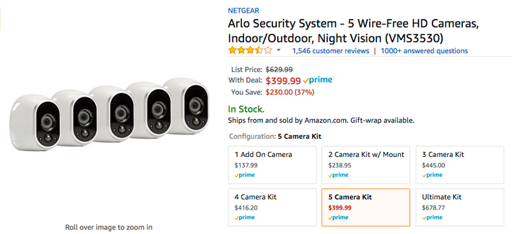 [Deal Alert] Get a NETGEAR Arlo security system 5-pack for just $399.99 ($230 off) on Amazon