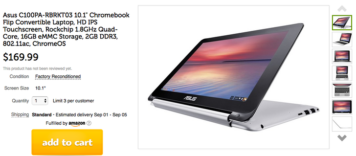 "[Deal Alert] Factory reconditioned ASUS Chromebook Flip 10.1"" with Play Store $169.99 on Woot! ($80 off)"