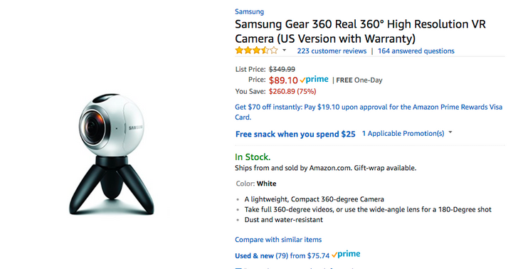 [Update: Now $77.78] Deal Alert: Samsung's first-gen Gear 360 is down to $89.10, an all-time low, on Amazon