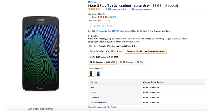 [Deal Alert] Amazon has the ad-free gray 32GB Moto G5 Plus for $179.99 ($50 off)
