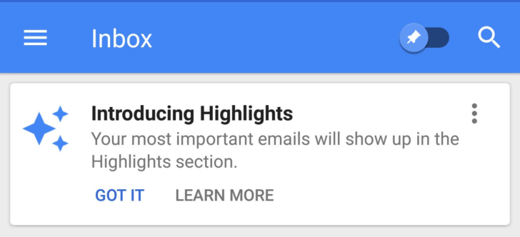 New Highlights section is starting to roll out to Google Inbox users