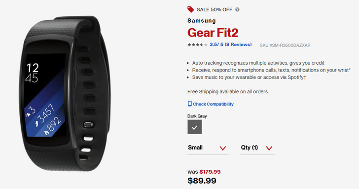 [Deal Alert] Samsung Gear Fit2 on sale for $89.99 (50% off) at Verizon