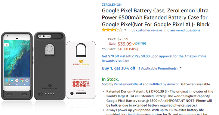 [Deal Alert] ZeroLemon's Ultra Power battery case for Pixel down to $27.99 ($13 off), Pixel XL case is $41.99 ($16 off)