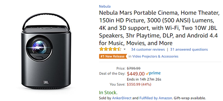 [Deal Alert] Nebula Mars portable projector with Android only $449 (25% off) on Amazon