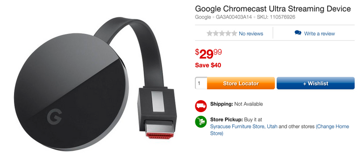[Deal Alert] Get a Chromecast Ultra for just $29.99 ($39 off) from RCWilley, but only with local pickup