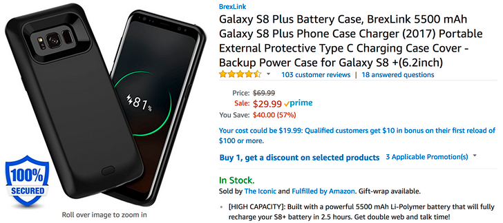 [Deal Alert] Brexlink Galaxy S8 5000mAh, S8+ 5500mAh battery cases are just $29.99 ($10 off) on Amazon