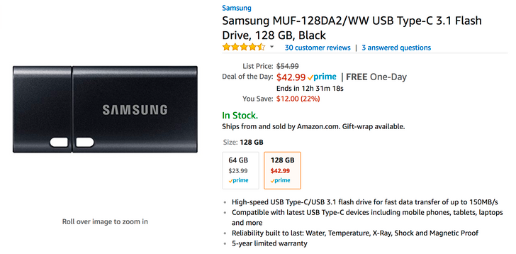 [Deal Alert] 64GB Samsung USB Type-C 3.1 flash drive just $23.99, 128GB just $42.99 for Amazon's Deal of the Day
