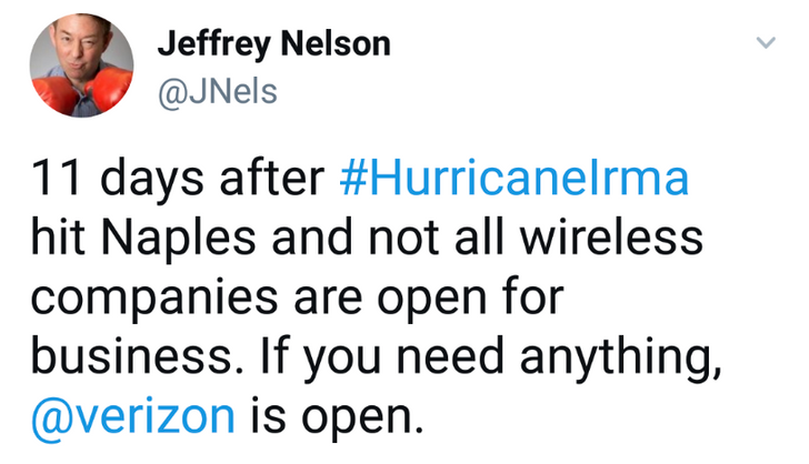 Verizon PR exec tweets insensitive post-hurricane message targeting T-Mobile, deletes it after outrage
