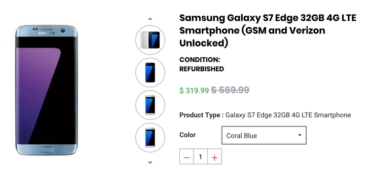 [Deal Alert] Refurbished unlocked Samsung Galaxy S7 Edge 32GB just $285 with our exclusive coupon at Daily Steals