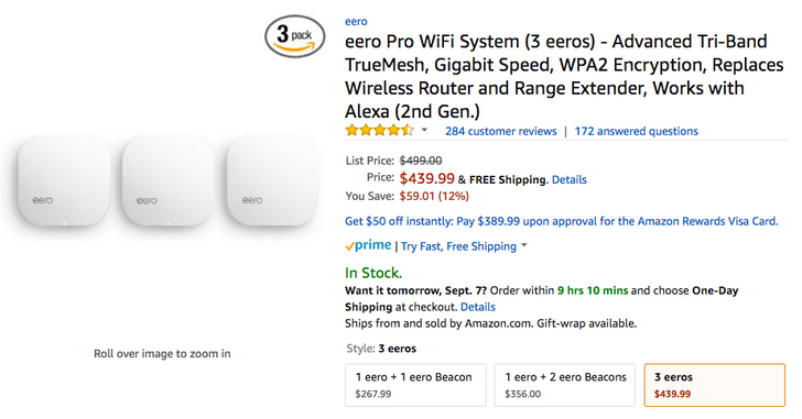 [Deal Alert] eero Pro 2nd generation down 10-12% in various packs (3-pack for $439.99)