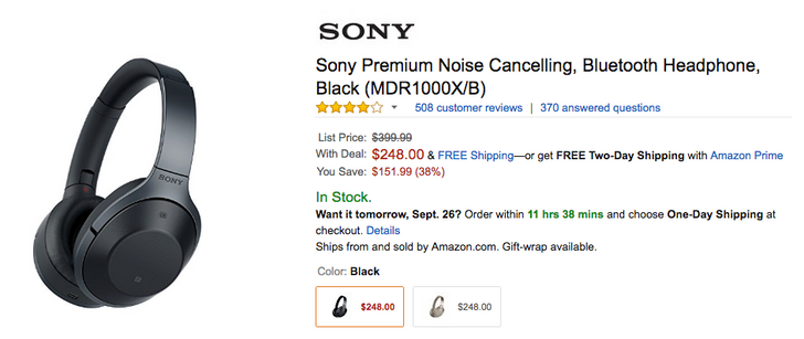 [Deal Alert] Sony's excellent noise canceling MDR1000X Bluetooth headset is down to $248 ($152 off MSRP)
