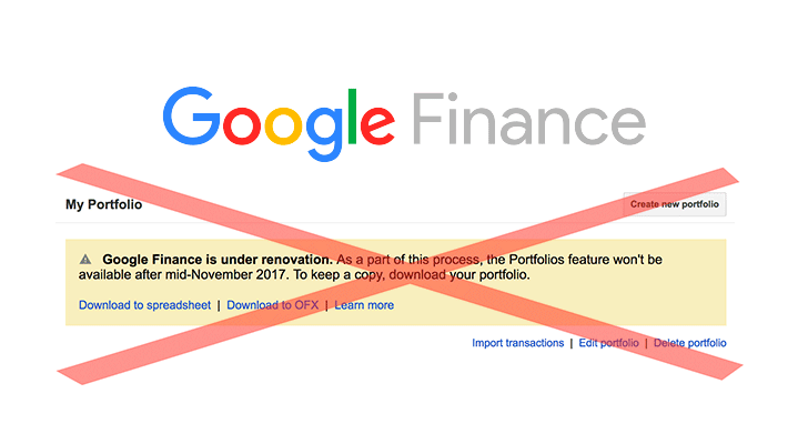 Google Finance will be retiring its portfolio feature in mid-November