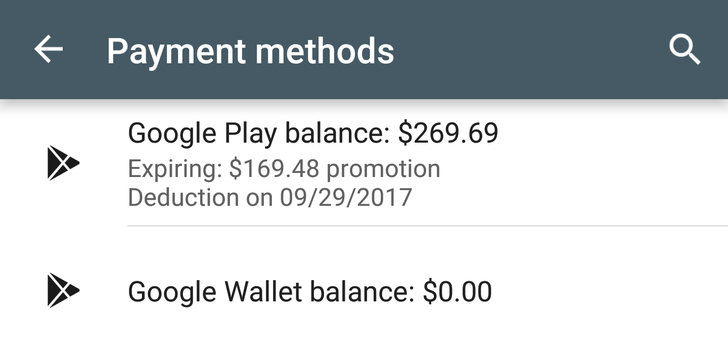 Play Store app on Android shows your nearest Play balance credit expiration date