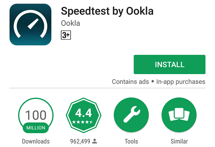 Speedtest reaches 100 million downloads on the Play Store