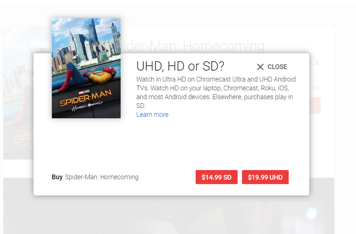 Google Play Movies seems to be moving to match Apple's new $19.99 UHD pricing