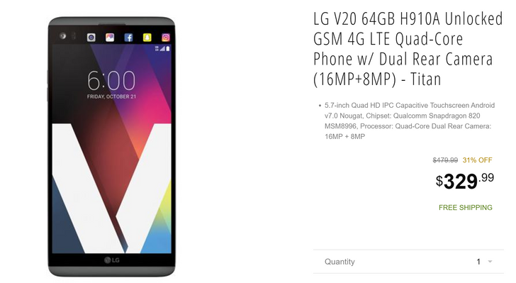 [Deal Alert] AT&T/unlocked LG V20 is down to $329.99 on Breed via NeweggFlash