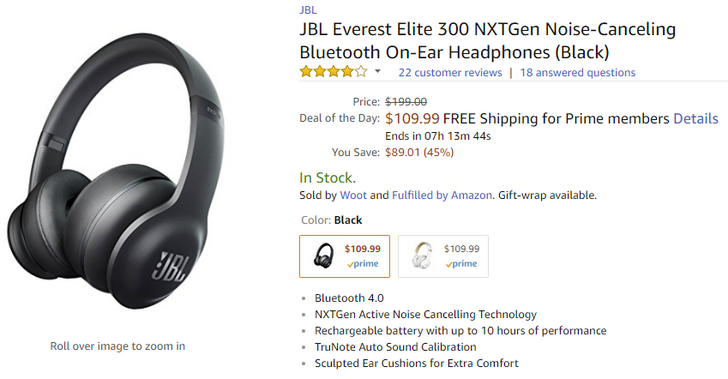 [Deal Alert] JBL's Everest Elite 300 noise-canceling Bluetooth headphones are Amazon's deal of the day at $109.99 ($70 off)