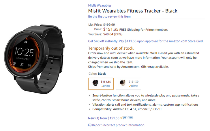 [Update: Not shipping until December] Misfit's unreleased Vapor Android Wear smartwatch appears on Amazon for only $151 ($48 off)