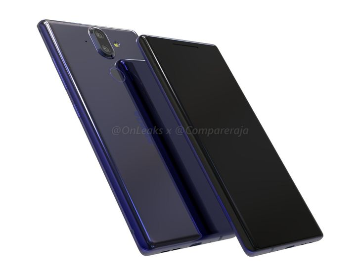 OnLeaks posts renders of the Nokia 9, showing off curved glass and no headphone jack