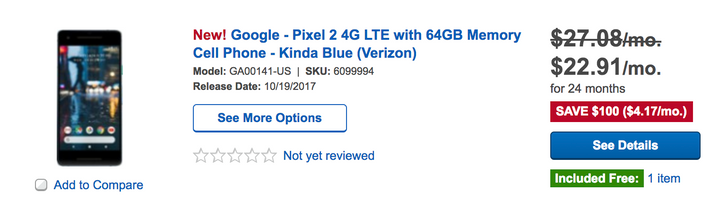 [Deal Alert] Best Buy is already knocking $100 off the Pixel 2 and $25 off the Pixel 2 XL (Verizon models)