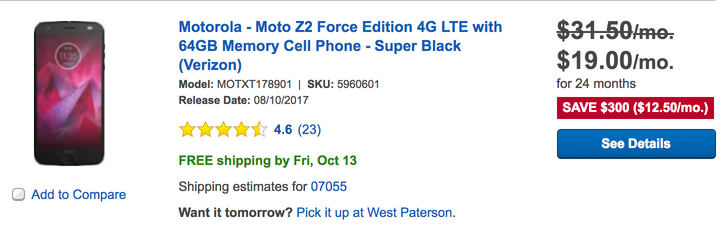 [Deal Alert] Verizon Moto Z2 Force is $456 ($300 off) with free Projector Moto Mod at Best Buy